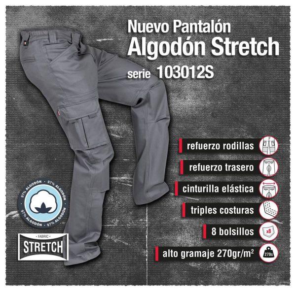 PANTALÓN DE TRABAJO ELÁSTICO ALGODÓN VELILLA SERIE 103012S
