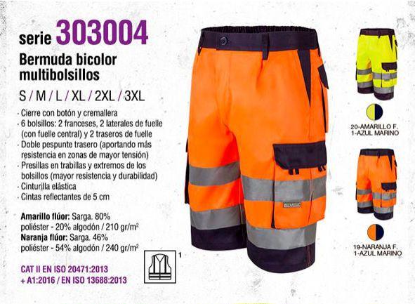 BERMUDA DE TRABAJO BICOLOR VELILLA SERIE 303004